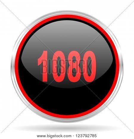1080 black and red metallic modern web design glossy circle icon