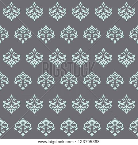 Seamless wallpaper Renaissance on a gray background. Beautiful pattern. Vector Illustration.