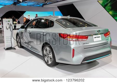 NEW YORK - MARCH 23: A KIA Optima EX at the 2016 New York International Auto Show during Press day,  public show is running from March 25th through April 3, 2016 in New York, NY.