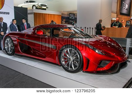 NEW YORK - MArch 23: A Koenigsegg Regera at the 2016 New York International Auto Show during Press day,  public show is running from March 25th through April 3, 2016 in New York, NY.
