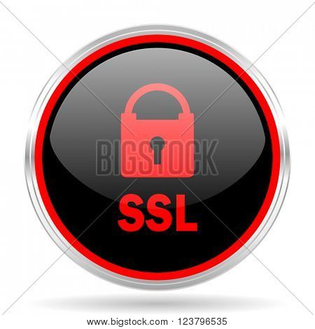 ssl black and red metallic modern web design glossy circle icon