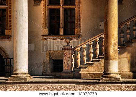 Classical Architectural Column. Royal Wawel Castle, Cracow. Poland