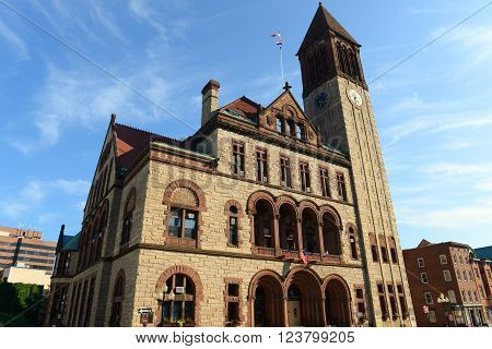 Albany City Hall was built in 1880 with Richardson Romanesque style by Henry Hobson Richardson. The building is served as the seat of government of Albany City in downtown Albany, New York State, USA. poster