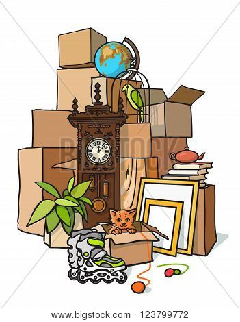 The concept of moving. cargo delivery. Moving to another housing apartment. Mountain boxes with things. Transportation of boxes out of the house. Packing things to move to another apartment housing. Vector illustration boxes.