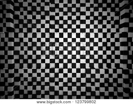 3d checker volume background. The concept design of futuristic checkerboard.