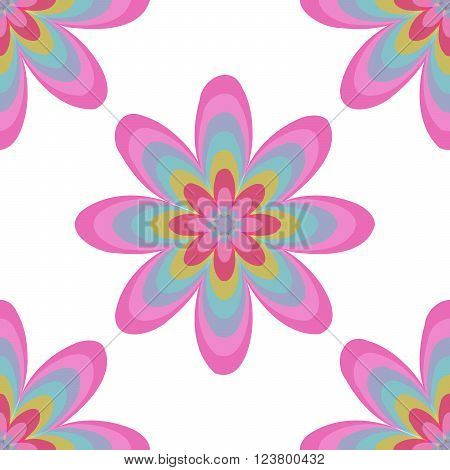 Seamless Colorful Abstract Flower Pattern From Ellipses