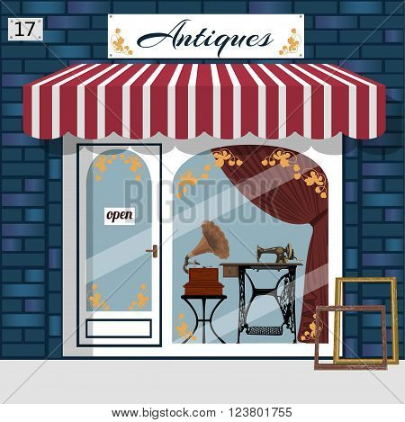 Antique shop facade. Gramophone and sewing maching in the window. Blue brick building. Vector illustration.