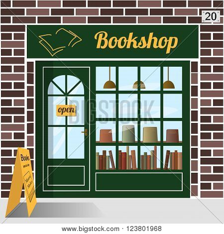 Bookshop building facade of brown brick. A row of books in the window. EPS 10 vector.
