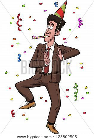 Joyful tax agent on a white background vector illustration