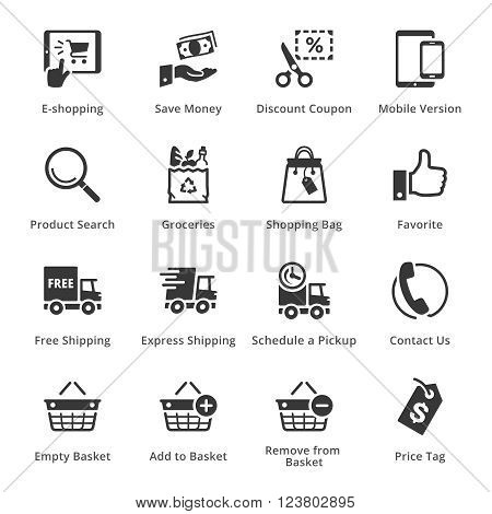 E-commerce Icons - Set 4. This set contains e-commerce icons that can be used for designing and developing websites, as well as printed materials and presentations.