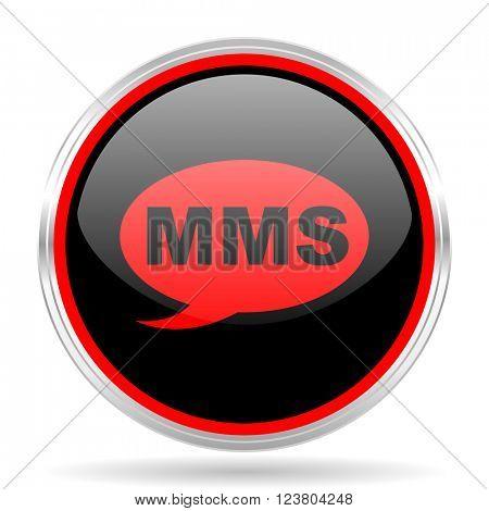 mms black and red metallic modern web design glossy circle icon