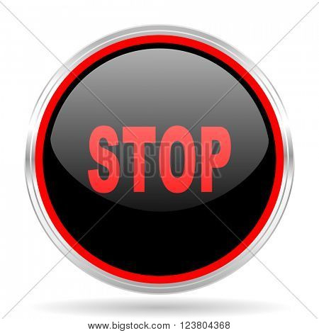 stop black and red metallic modern web design glossy circle icon
