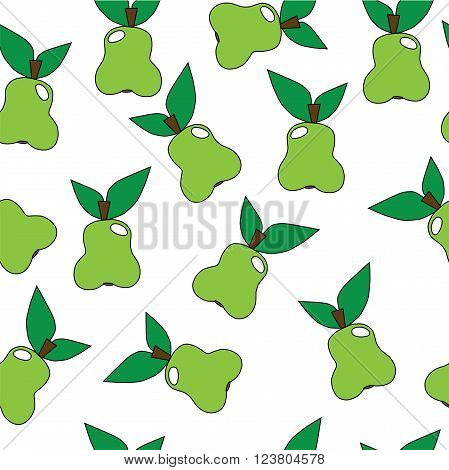 Seamless pear pattern. Pear pattern with fruit green color. Pear pattern with fruit different size. Natural pear pattern.