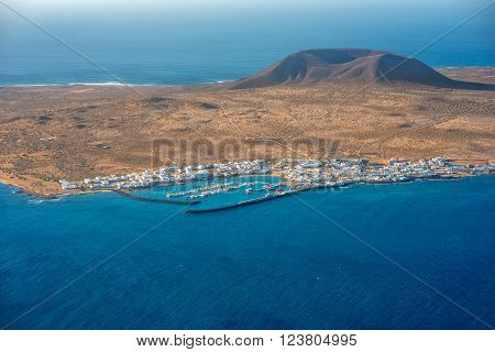Top view on Graciosa island from El Rio viewpoint on Lanzarote island in Spain
