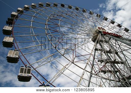 Moscow, Russia- July 04, 2019 Ferris Wheel Near Vdnkh (all-russia Exhibition Centre). Vdnkh Is A Per