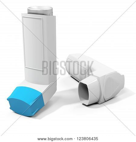 Blue cap medicine inhaler on white background 3D illustration