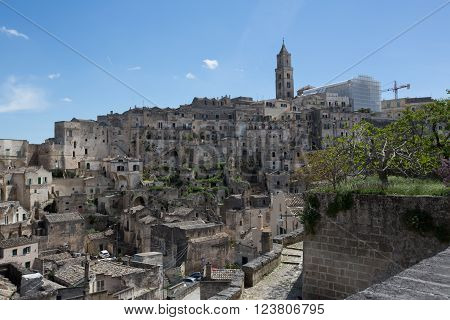 Matera, in  Italy with its caratheristics Sassi, troglodyte houses