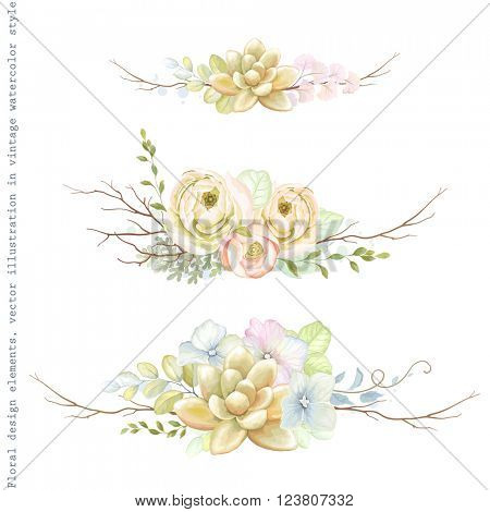 Decorative holiday horizontal ornaments of flowers ranunculus, succulents, leaves and old branches, tender floral vector illustration in vintage watercolor style.