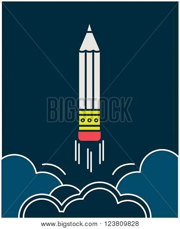 Pencil takes off like a rocket into space. Copywriting emblem. Pensil in outline style. Development in copywriting concept.