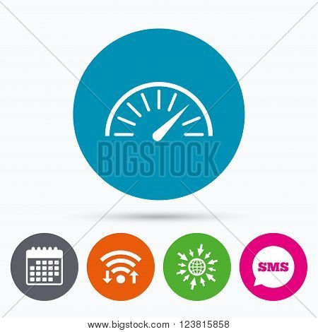 Wifi, Sms and calendar icons. Tachometer sign icon. Revolution-counter symbol. Car speedometer performance. Go to web globe.