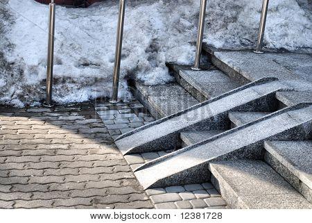 Modern wheelchair ramp in church door
