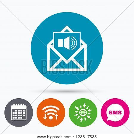 Wifi, Sms and calendar icons. Voice mail icon. Speaker symbol. Audio message. Go to web globe.