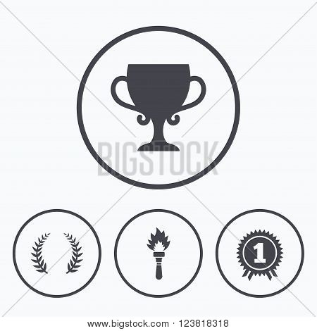 First place award cup icons. Laurel wreath sign. Torch fire flame symbol. Prize for winner. Icons in circles.