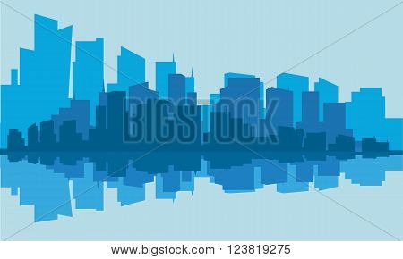 Silhouette of industry with blue background in the river