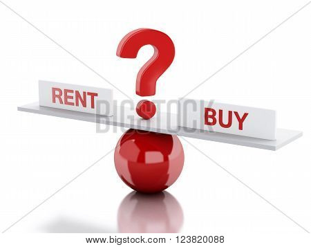 3D Illustration. Seesaw balance between rent and buy. Business concept. Isolated white background.