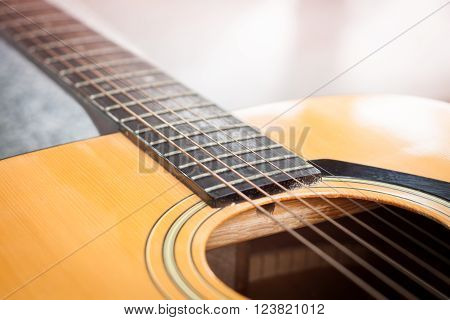 Close up acoustic guitar detail, stock photo