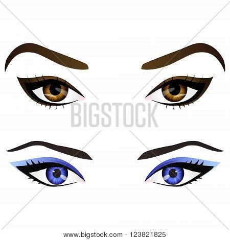 Set of realistic cartoon vector female eyes and eyebrows with different colors and fashion make up. Brown and blue eyes and brows design element body parts isolated on white background. Eyes close up