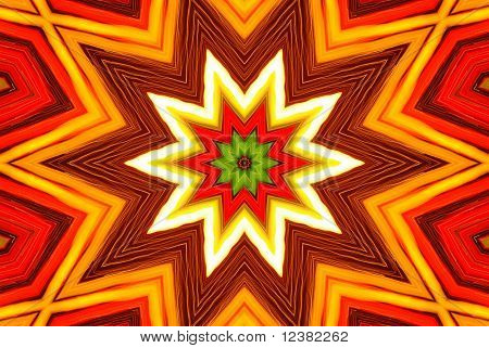 Star burst red and yellow fire