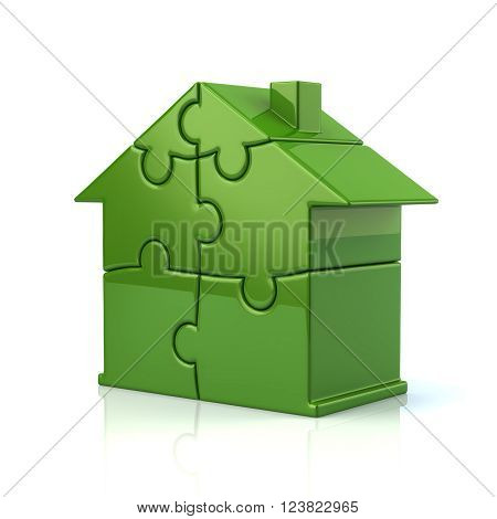 3d illustration of green puzzle house isolated on white background