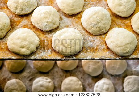 Bread Ready For The Oven Arranged On Shelves