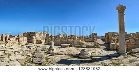 Panoramic view of the ruins and arches of the ancient Greek city Kourion (archaeological site) near Limassol, Cyprus ** Note: Soft Focus at 100%, best at smaller sizes