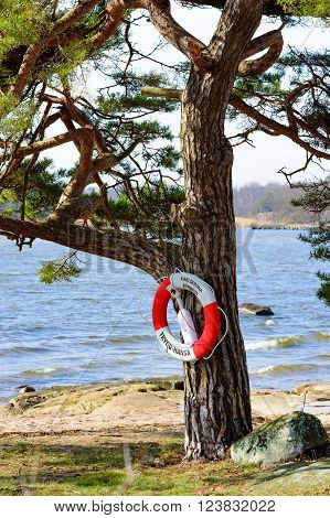 Nattraby Sweden . March 27 2016: A lifebuoy on a pine tree with the beach and the sea behind. Trygg Hansa an insurance company has donated many thousands of these throughout Sweden.