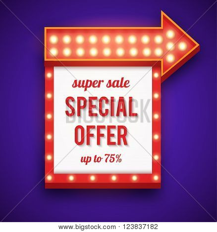 Neon frame sale offer with lights. Neon sign with arrow and glowing lights.  illustration of sale neon frame, arrow icons. 3D neon frame background for your sale banners, sale flayers or advertising