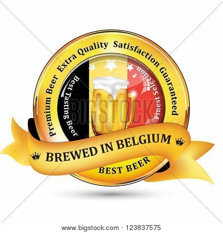Brewed in Belgium - Premium Beer Extra quality, Satisfaction Guaranteed ribbon / sticker advertising for pubs, clubs, restaurants and breweries. Contains beer mug and the flag of Belgium.