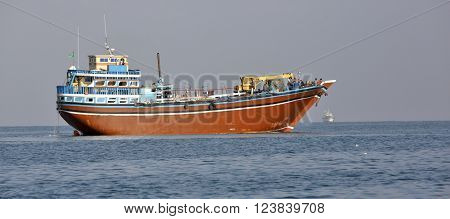 GULF OF ADEN, DJIBOUTI - FEBRUARY 7, 2016: Fishing and cargo ships which are used for transportation between Yemen and Djibouti, for cargo transportation in the Red Sea and Indian Ocean