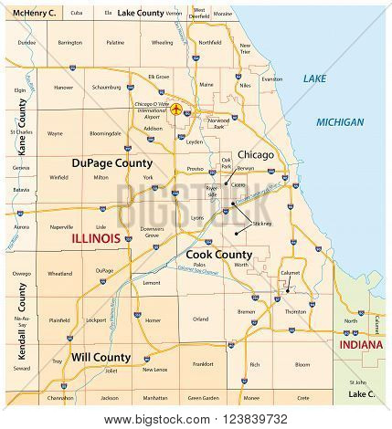roads and administrative map of greater chicago