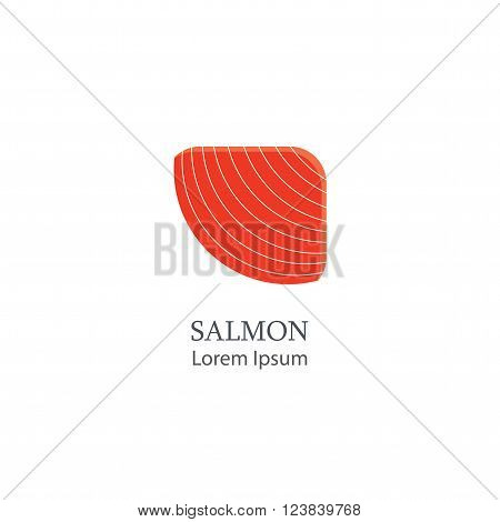 Piece of salmon isolated on white background. Salmon emblem or logo of the company or store. Salmon logo. Vector illustration.