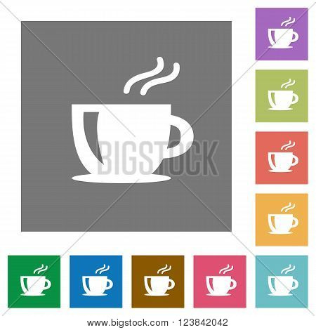 Cappuccino flat icon set on color square background.