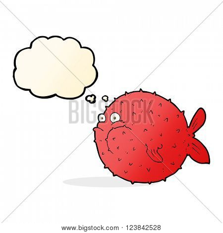 cartoon puffer fish with thought bubble