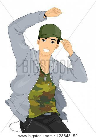 Illustration of a Male Hip Hop Dancer Dancing to Music