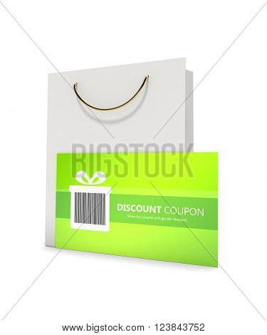 discount card with shopping bag isolated on white background