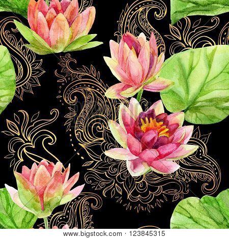 watercolor lotus flower on golden ornament. Watercolor flowers on indian paisley seamless pattern. Hand painted illustration on black background