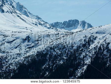 Snowy mountain peaks in Alaska's wilderness near Skagway