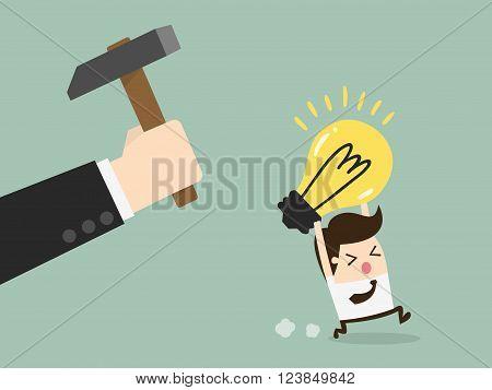 Hand breaking light bulb. Concept Cartoon Illustration.