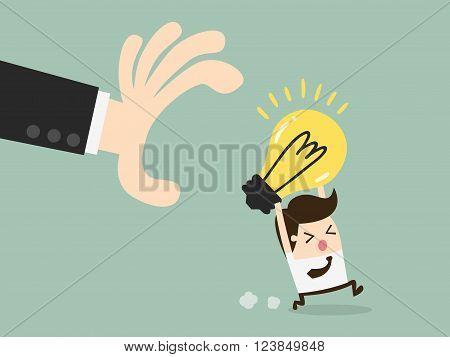hand grabbing light bulb. Business Concept Cartoon Illustration.