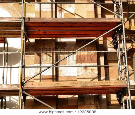 Rusty beams and columns at construction site.